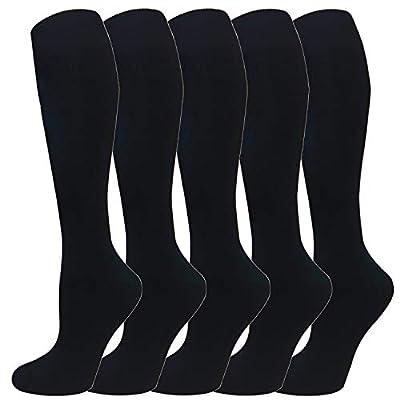 Warm Knee High Socks for Women&Men-Thermal Cotton Socks for Hiking,Work,Winter(Black(5 Pack Women))