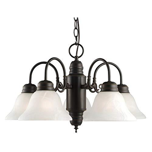 Colonial Silver Five Light Chandelier - 1