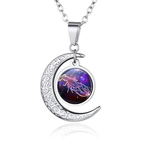 Custom4U Cáncer Colgante Sol Luna para Mama Regalo Junio Julio Horoscopo Signo 12 Constelaciones Collar Acero Inoxidable 316L para Amigos