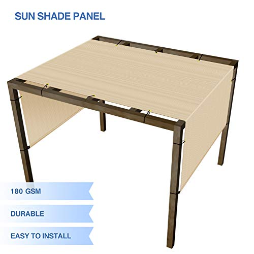 E&K Sunrise Outdoor Shade Canopy Cover Screen with Grommets Weighted Rods 12'x16' for Pergola Porch Patio Deck Shade Cloth Sun Shade Panel 95% UV Block Beige Tan