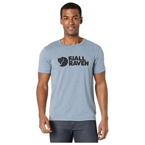 Fjällräven Logo T-Shirt M, Uomo, Uncle Blue-Melange, XL