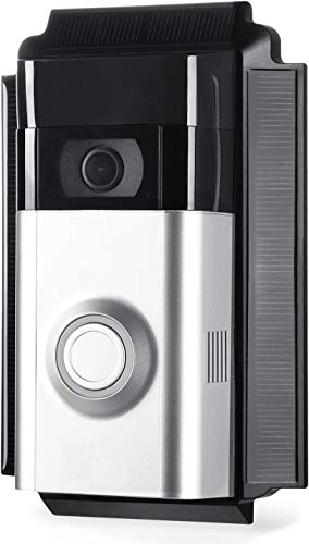 Solar-Lade-Halterung für Ring Doorbell 2 - Solarbetriebene Halterung zum Aufladen Ihrer Ring Doorbell 2 - von Wasserstein - Halten Sie Ihre Ring Doorbell 2 stets geladen (schwarz)