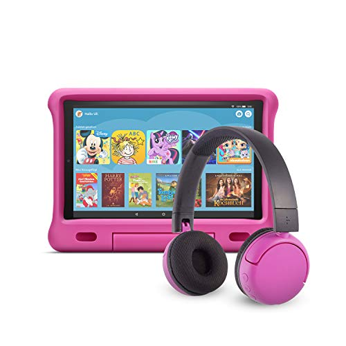 Fire HD 10 Kids Edition-Tablet (32 GB, pinke kindgerechte Hülle) mit PopTime-Bluetooth-Headset (Altersklasse: 8-15 Jahre)