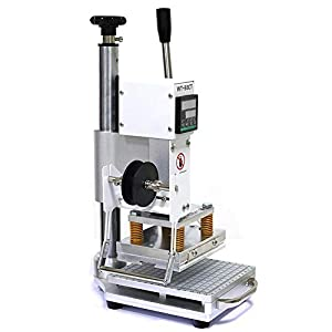 110V Hot Foil Stamping Machine 10x13cm with T-Slot & Movable Table for PVC Wood PU Leather Logo Embossing Bronzing