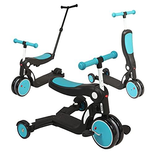 Looping - SCOOTIZZ Tricycle/Trottinette Evolutif 5 en 1 (avec Barre de Poussée, Bleu Paon)