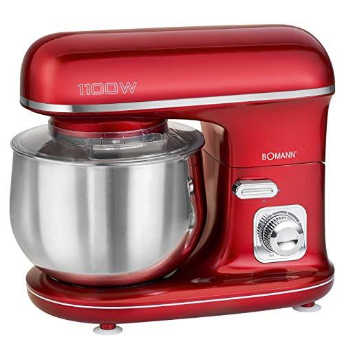 Küchenmaschine Rührmaschine mit Schüssel Edelstahl 5 Liter Knetmaschine Rot (1100 Watt, Schneebesen, Rührbesen,Knethaken, Sicherer Stand)