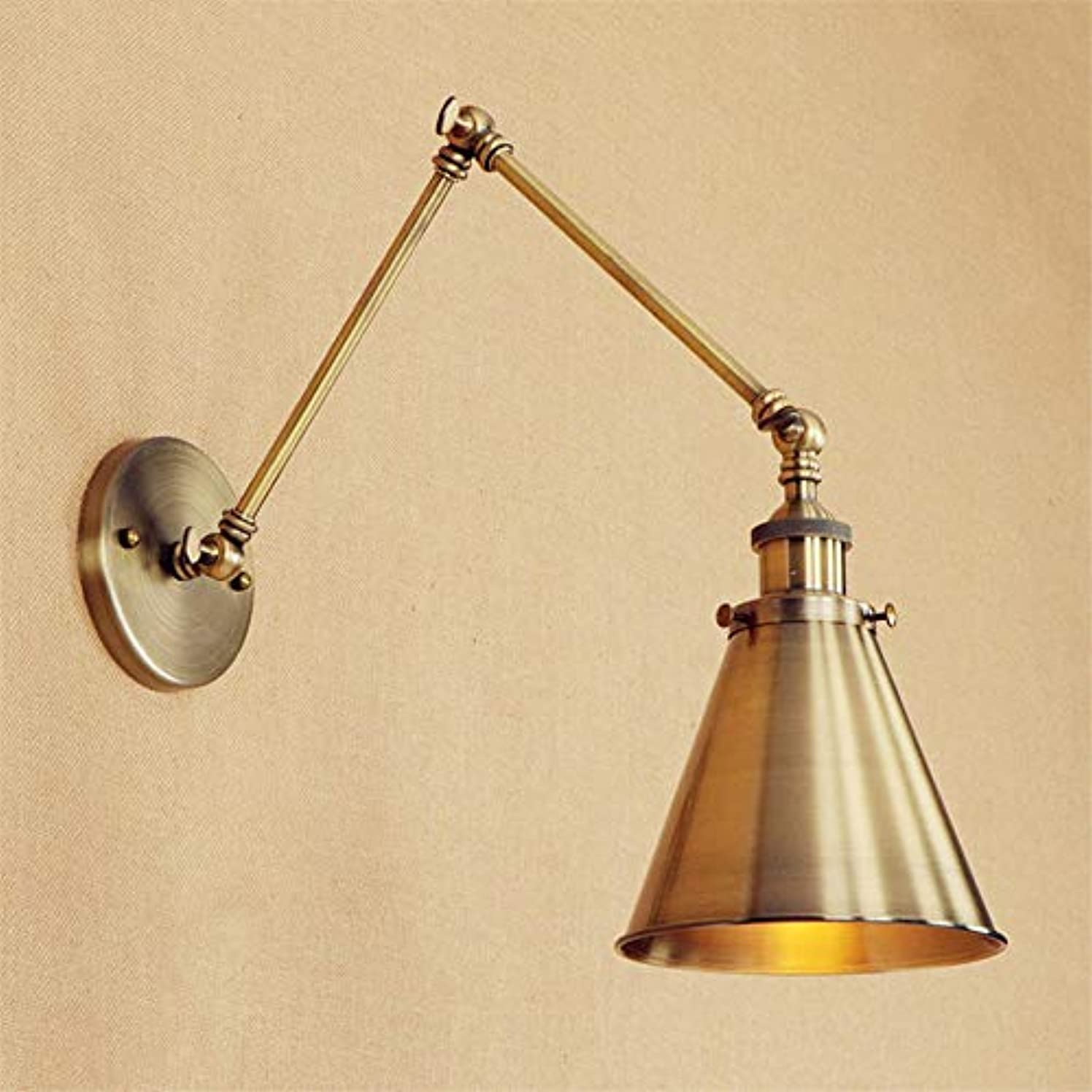 Rishx Vintage Swing Long Arm Wall Light Fixture Adjustable Loft Retro Brass LED Edison Wall Lamp Sconce Industrial Antique Metal E27 Stair Home Lighting (Size : 30+30cm)