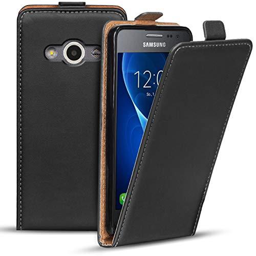 Verco Flip Cover für Samsung Galaxy XCover 3 Case, Flipstyle Schutzhülle für Samsung XCover 3 Hülle Kunstleder Tasche vertikal klappbare Handyhülle, Schwarz
