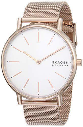 Skagen Women's Signatur Quartz Analog Stainless Steel and Stainless Steel Mesh Watch, Color: Rose Gold (Model: SKW2784)