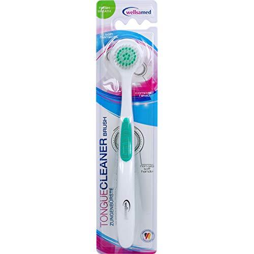 wellsamed Zungenbürste TongueCleaner Brush Fresh Breath, Zungenreiniger, runder Kopf, Bürste zur Zungenreinigung, wirkt gegen Mundgeruch, 1 Stück