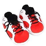 Taille 35-45 Homme Mousse Baskets Pain Gras Pantoufles Femmes/Hommes Hiver Coton Chaussures Mignon Animal De Bande Dessinée Chaud Maison en Peluche Chaussures Femme, Noir Rouge, 7