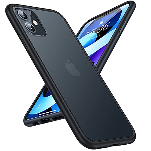 TORRAS Shockproof Designed for iPhone 11 Case, [6FT Military Grade Drop Protection] Translucent Hard Back with Silicone Bumper, Slim iPhone 11 Phone Case Protective Case iPhone 11 6.1'', Frost Black