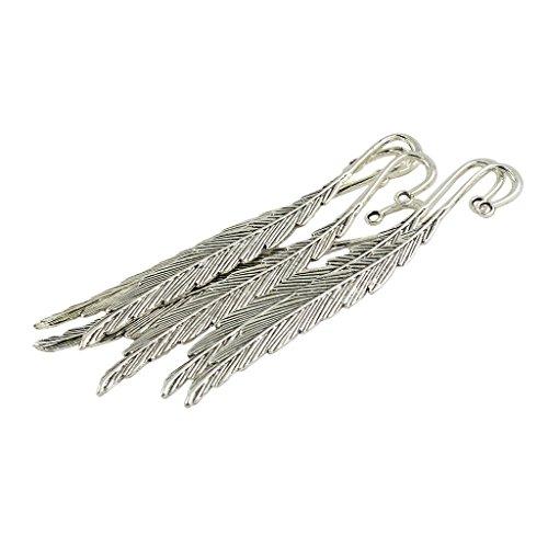 6 Stücke Lesezeichen Silber Feder förmig für DIY Herstellung Sebst Basteln