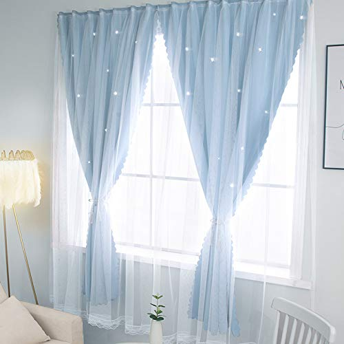 BOLO Voile Curtains Set of Tiebacks, Eyelet Sheer Net Solid Transparent Window Drop,1.8x1.5M