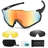 Gafas de Sol Hombres y Mujeres, laxikoo Gafas Ciclismo Polarizadas Hombre Protección UV400 con 3 Lentes Intercambiables Gafas Deportivas MTB Ideales para Running, Bicicleta, Pesca, Ski, Escalada