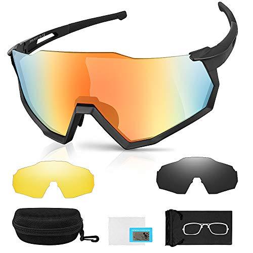laxikoo Sportbrille Polarisierte Sonnenbrille Fahrradbrille UV400 3 Wechselgläser Polarisierte Linsen für Outdooraktivitäten wie Radfahren Klettern Autofahren Laufen Angeln Golf, Unisex