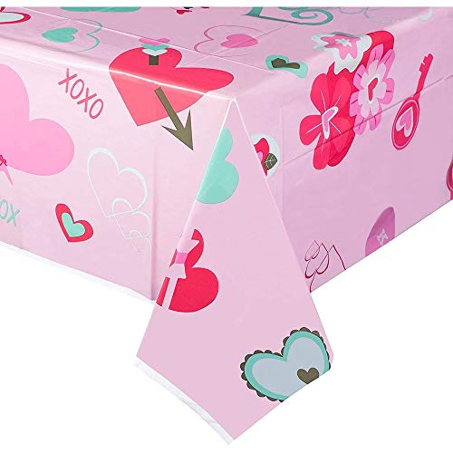 Pink Plastic Tablecloth for Valentine's, Heart Pattern (54 x 108 in, 3 Pack)