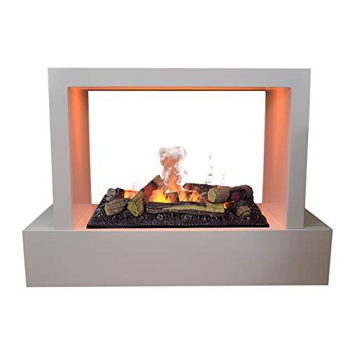 GLOW FIRE Humboldt Elektrokamin Opti Myst Cassette 600 3D Wasserdampf Feuer, elektrischer Raumteiler Standkamin mit Fernbedienung, Tunnel Kamin | Regelbarer Flammeneffekt, 80 cm, Weiß