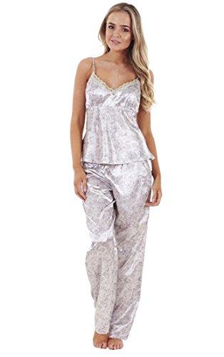 Conjunto pijama raso 3 piezas mujer camiseta encaje