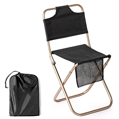 HRXS Camping chair, ultralight garden chair, foldable fishing chair, portable outdoor chair, with portable bag, for outdoor activities, camping, barbecue, backpack, fishing, etc,Black