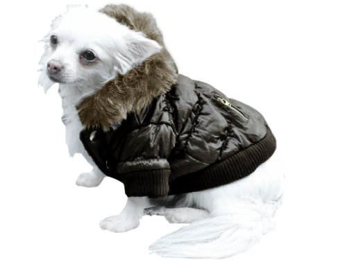 Dicker Steppmantel in braun mit Fell-Kaputze - Winterjacke Hund Bekleidung für Hunde Hundebekleidung und Hundemantel günstig M56 Gr. L