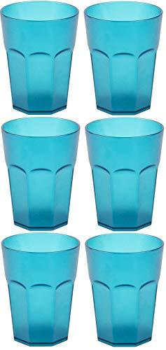 Design 6x Kunststoffbecher Becher Plastikbecher Trink-Gläser Mehrweg Fassungsvermögen 0,4l in der Farbe Türkis