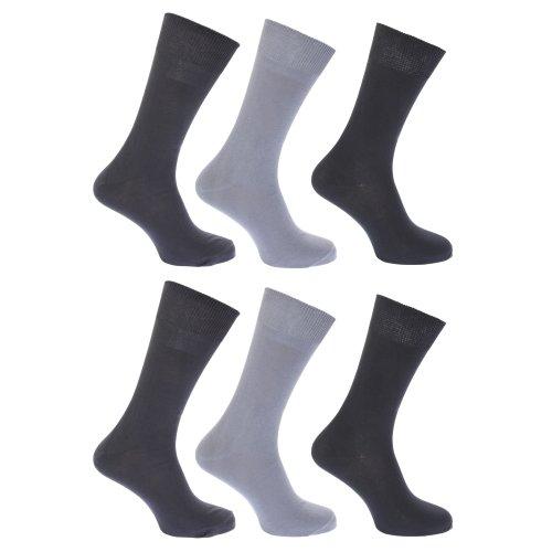 FLOSO® Damen Socken, 100prozent Baumwolle, 6 Paar (EUR 37-41) (Grautöne)