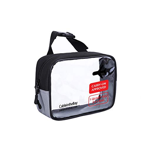 TSA Approved Clear Travel Toiletry Bag-Quart Sized with Zipper-Airport Airline Compliant Bag/Bottles-Mens/Womens 3-1-1 Kit (Hanging Bag)