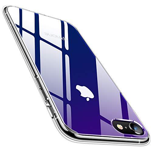 TORRAS iPhoneSE用ケース iPhone8用 7用ケース4.7インチ 9H 強化ガラス 日本旭硝子製 高透明 三層構造 黄変防止 四隅滑り止め ストラップホール付き グラデーション ブルー Fancy Series