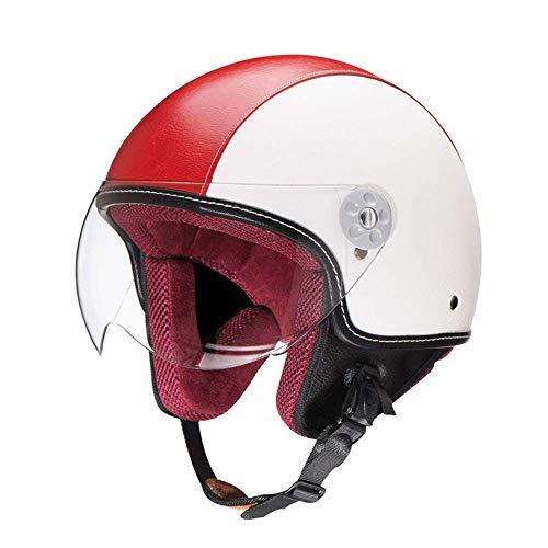 ZR-Mono Noche · Pilot mofa Jet-Casco Chopper Biker Bobber Retro Moto Casco Vespa Casco Cruiser Vintage Scooter-Casco · Certificado Dot · Incluye Visera · Rojo Blanco,L(59~60cm)