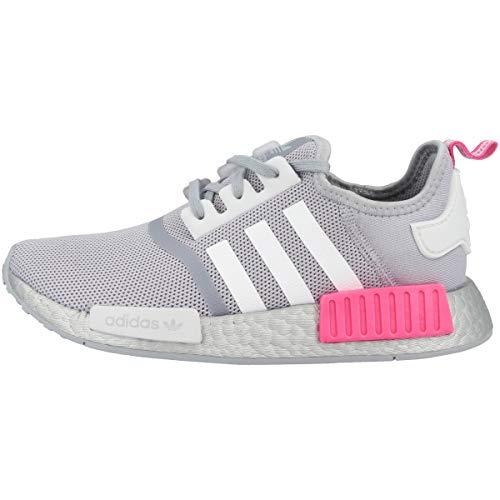 adidas NMD_R1 J, Scarpe da Ginnastica, Halo Silver/Ftwr White/Screaming Pink, 38 2/3 EU