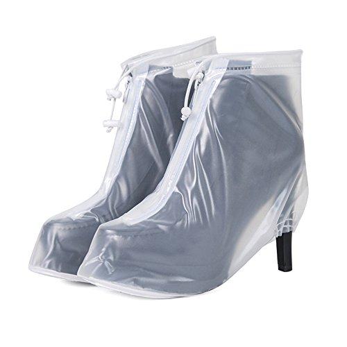zhxinashu Frauen Wasserdichte Fahrrad Schuh Abdeckung, Hochhackige Stiefel Bedeckt Wiederverwendbare Rutschfeste Überschuhe,Transparent,L