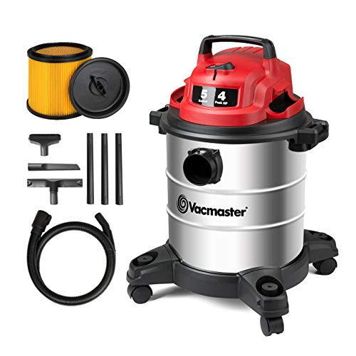 Vacmaster Red Edition VOC508S 1101 Stainless Steel Wet Dry Shop Vacuum 5 Gallon 4 Peak HP 1-1/4 inch Hose Powerful Suction with Blower Function