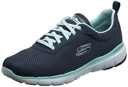 Skechers Flex Appeal 3.0-First Insight, Zapatillas Mujer, Azul (Nvaq Black Mesh/Trim), 39 EU