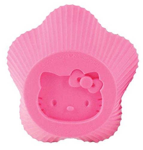 Siliconezone Hello Kitty Kuchenformen von 6 Stück, Silikon, Rose, 1.12 x 1.12 x 1.12 cm