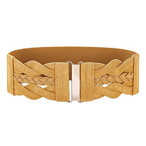 Women's Elastic Belt Retro Wide Waist Cinch Belt(Spicy Mustard,L)