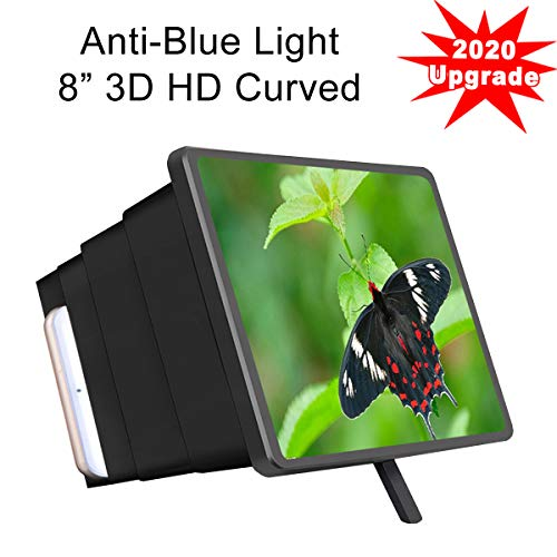 """Mobile Phone Screen Magnifier Amplifier, Anzhee 2020 Newest Design 8"""" Curved 3D HD Anti-Blue Light Adjustable Foldable Cell Phone Screen Enlarger for iPhone Android Samsung & All Smart-Phone Video"""