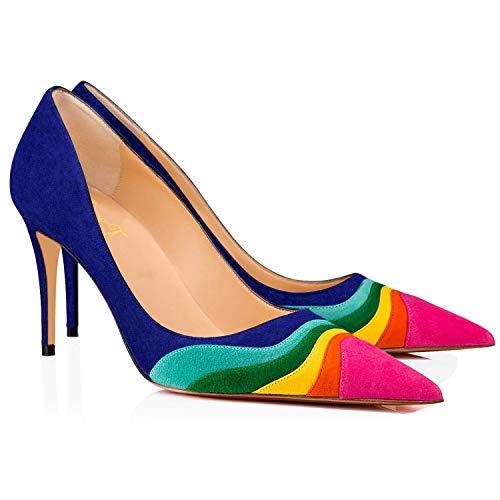 Zapatos de tacón para mujer, con encaje, de ante multicolor, cómodos, con...