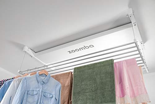 Zoomba - Elektrischer Wäschetrockner mit Fernbedienung Aluminiumstangen. Decke Hängend, Balkon, Badewanne innen und Outdoor – platzsparend (Zoomba 130 cm - Decke)