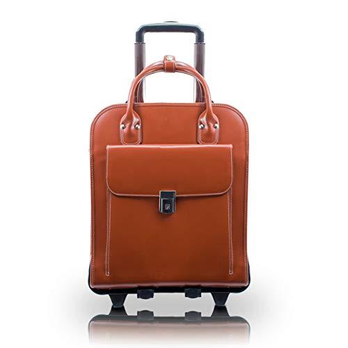 McKlein, W Series, LA Grange, Top Grain Cowhide Leather, 15' Leather Vertical Patented Detachable -Wheeled Ladies' Laptop Briefcase, Brown (96494)