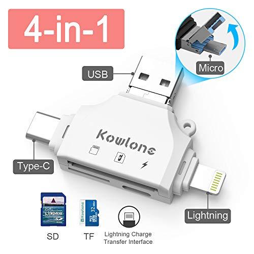 KOWLONE Lector Tarjeta de Memoria SD/Micro SD, Adaptador Micro USB OTG y Lector de Tarjetas USB 2.0 para Computadora/Laptop/Tableta y Teléfono Inteligente con Función OTG