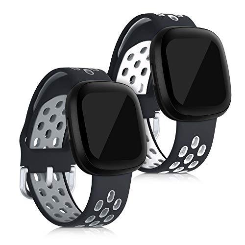 kwmobile 2X Pulsera Compatible con Fitbit Versa 3 / Sense - Brazalete de Silicona Negro/Blanco/Negro sin Fitness Tracker
