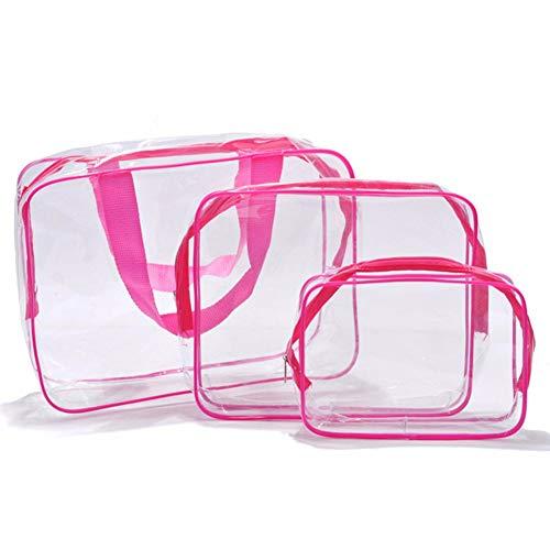 Aloiness - Juego de 3 bolsas de aseo de PVC transparente para cosméticos, kit de bolsa de viaje rosa rosa