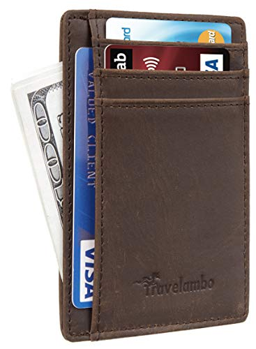 Travelambo Front Pocket Minimalist Leather Slim Wallet RFID Blocking Medium Size(CH Khaki Deep P)