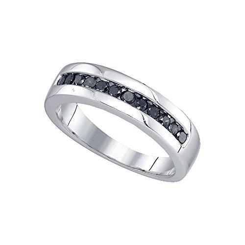 Plata de Ley redondos para hombre color negro diamante boda banda anillo 1/2quilates = 0,5quilates (I2-I3claridad; Color negro)