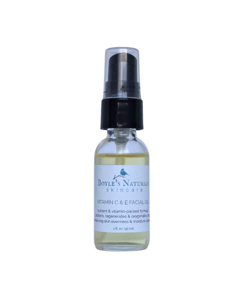 Boyle's Naturals Vitamin C & E Facial Oil Moisturizer for Women - Organic Essential Oil with Rosehip for Dry, Sensitive, Oily, Mature Skin - Skin Care for Wrinkles, Pigmentation, Dark Spot