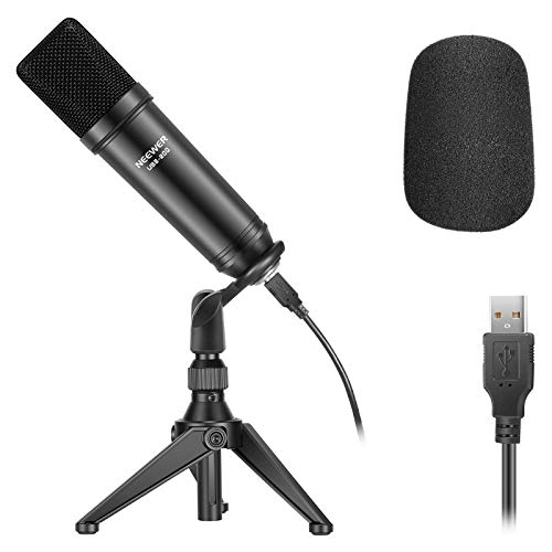 Neewer USB200 Kit Micrófono USB 192KHz/24Bit Micrófono Condensador Podcast Cardioide Plug y Play con Chip Sonido Profesional Trípode Escritorio Adaptador Cable USB para Tiktok YouTube Video etc.