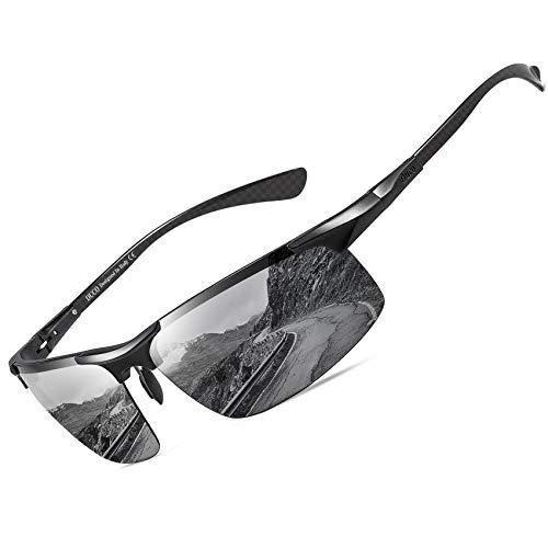 DUCO Gepolariseerde Zonnebril voor Heren met Metalen Frame en Tempels Van Koolstofvezel voor Golf Vissen Rijden UV400 8277 (zwarte as)