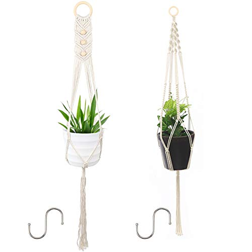 Colgadores de macramé, 2 piezas de soporte para plantas al aire libre para arte de pared interior, cesta de cuerda de algodón para colgar en la pared con 2 ganchos colgantes, soporte para macetas