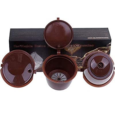 Letilio Coffee Capsules Can Fill Reuse for Dolce Gusto Coffee Maker Strong at Least 160 Times of Uses to Replace 3 Pcs with 1 Plastic Spoon and 1 Cleaning Brush